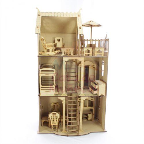 casa de barbie 3 pisos frontal