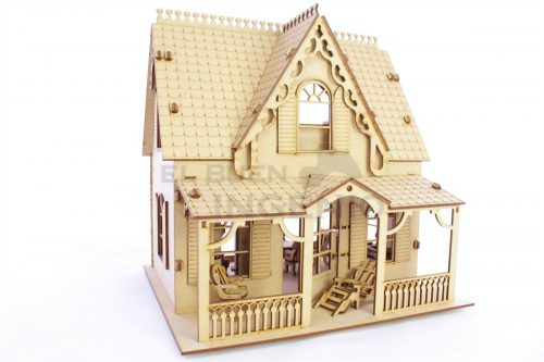 casa de campo, casita de muñecas de madera para muñecas