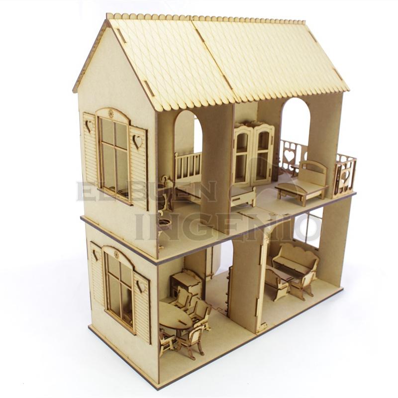 Casa de muñecas corazones 2 pisos