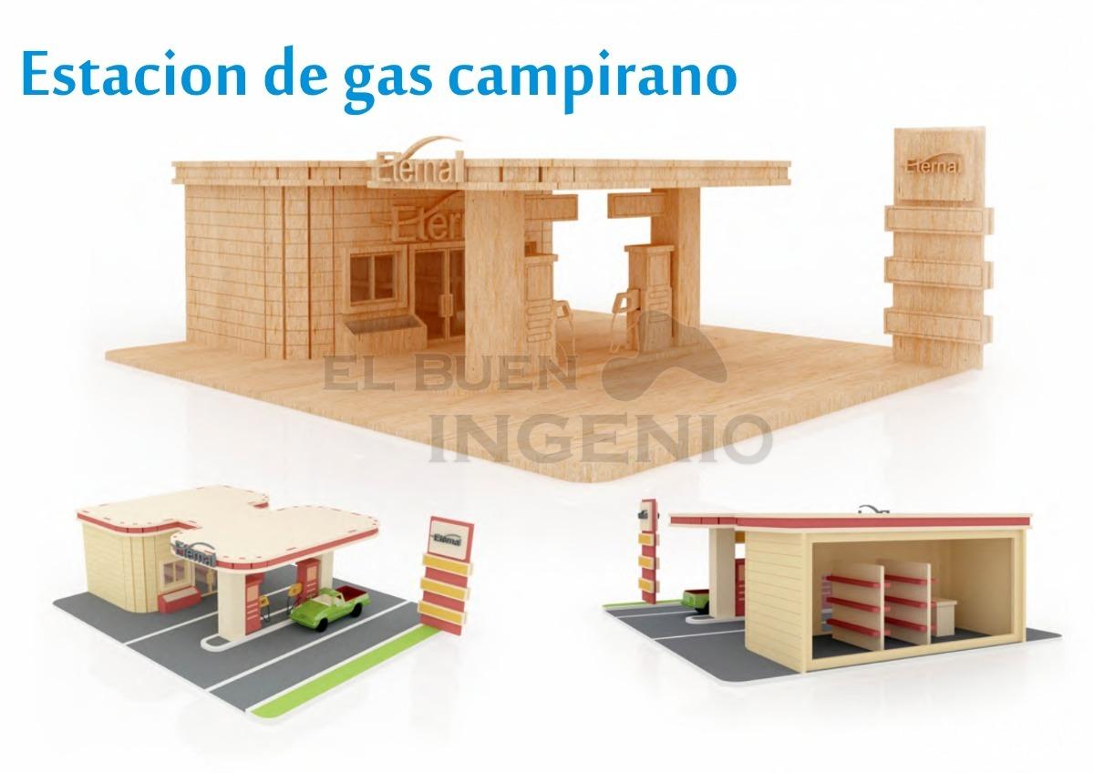 Estacion de gas juguete de madera